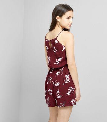 Teens Burgundy Floral Print Lattice Front Playsuit New Look