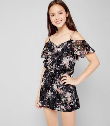 Teens Floral Print Flocked Playsuit New Look