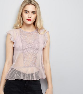 Lilac Lace Frill Trim Top New Look