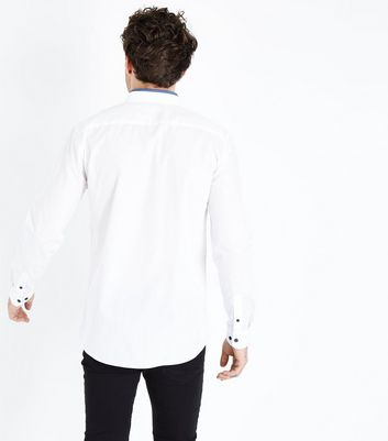 White Contrast Collar Long Sleeve Shirt New Look