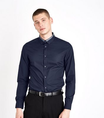Navy Contrast Collar Long Sleeve Shirt New Look
