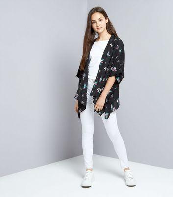 Teens Black Floral Kimono New Look