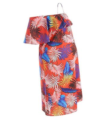 Maternity Red Tropical Print One Shoulder Dress New Look