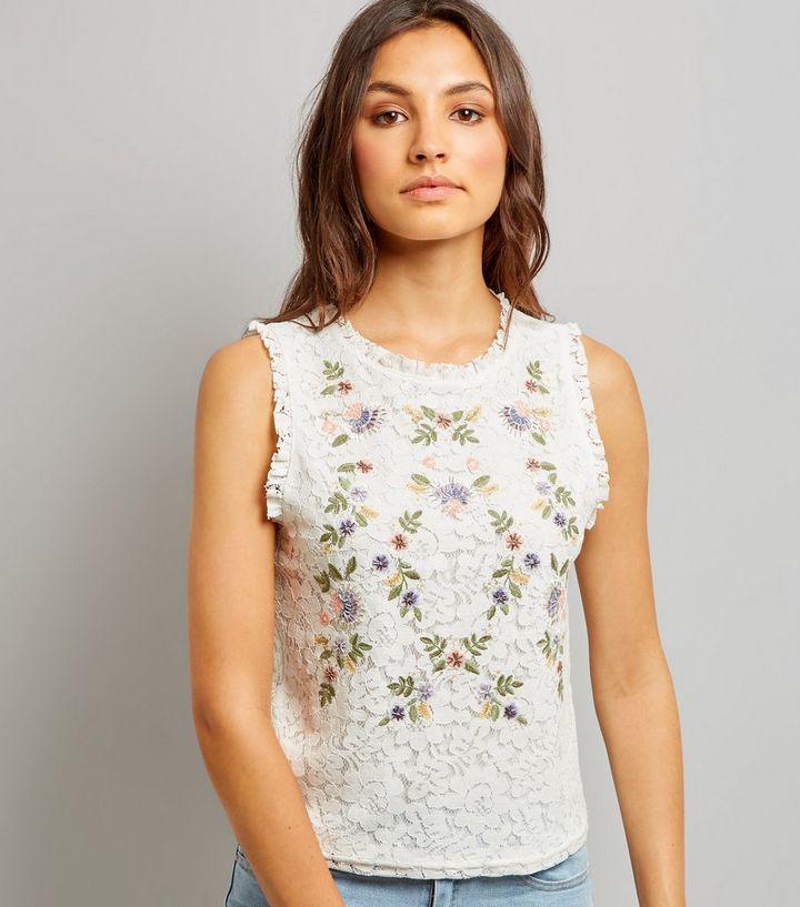 e250441246bda8 Tall White Floral Embroidered Lace Sleeveless Top | New Look