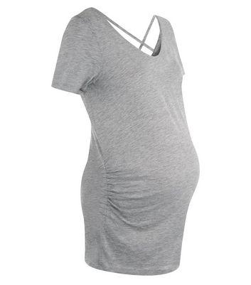 Maternity Grey Cross Back T-Shirt New Look