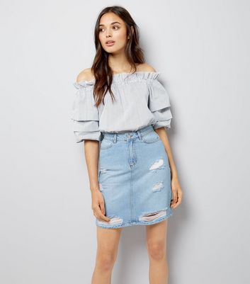 Tall Blue Ripped Denim Mini Skirt New Look