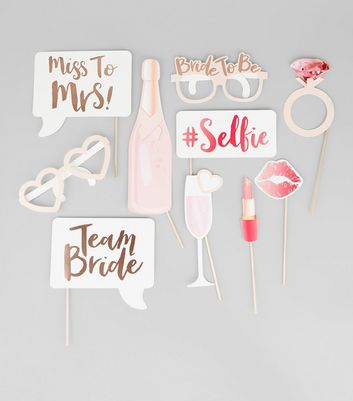 Gold and White Team Bride Photo Booth Props New Look