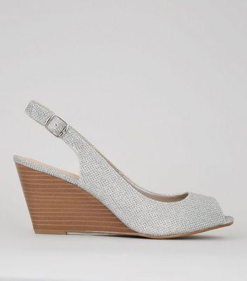 Silver Peep Toe Slingback Wedge Heels