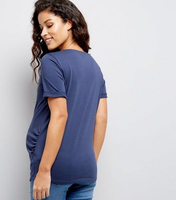 Maternity Navy Rolled Sleeve T-Shirt New Look