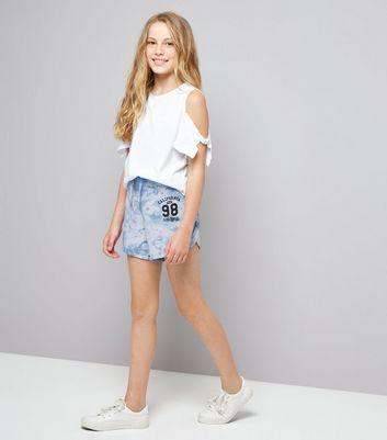 Teens Pale Blue Tie Dye California 98 Print Shorts New Look