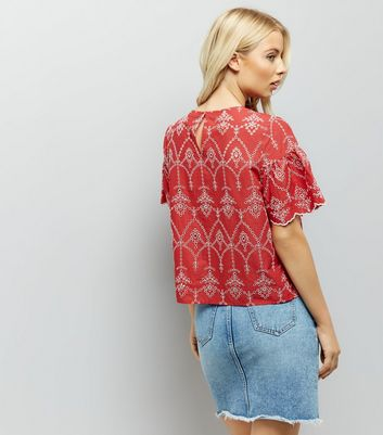 Red Cut Out Embroidered Smock Top New Look