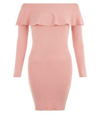 Blue Vanilla Pink Frill Trim Bardot Neck Dress New Look