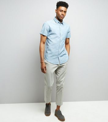 Blue Chambray Short Sleeve Shirt New Look