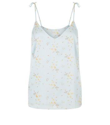 Blue Floral Print Satin Tie Strap Cami New Look