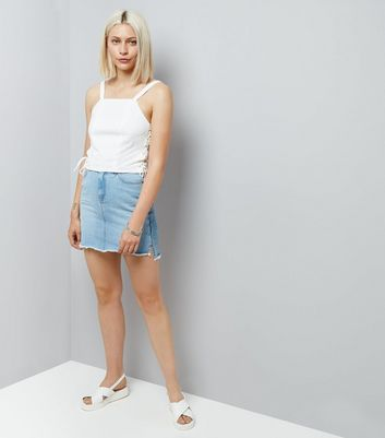 White Lace Side Crop Top New Look