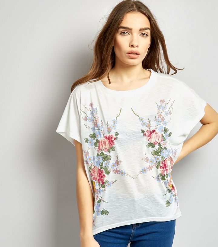 41364fd86a4 Blue Vanilla White Floral Embroidered Oversized T-Shirt | New Look