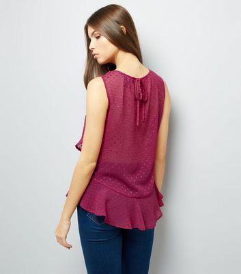 Deep Pink Spot Print Frill Trim Chiffon Top New Look
