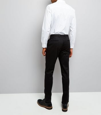 Black Cotton Skinny Tailored Trousers New Look
