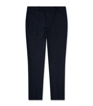 Navy Cotton Skinny Tailored Trousers New Look