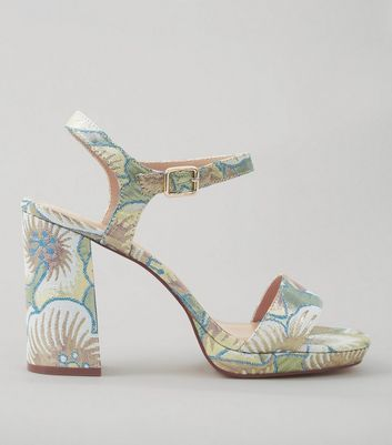 Wide Fit Pastel Blue Floral Brocade Heeled Sandals