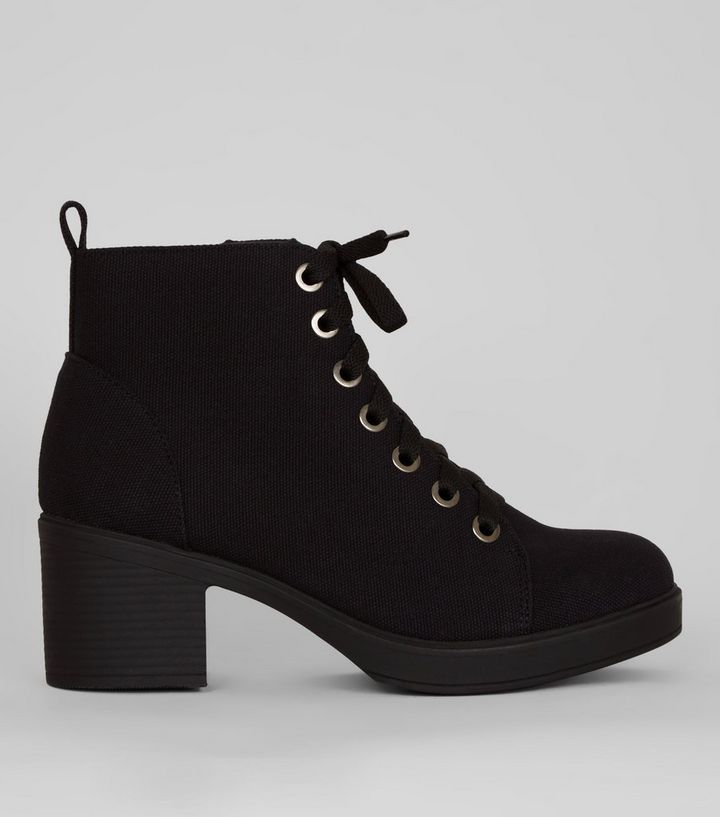 b0b2976b63a Wide Fit Black Canvas Lace Up Ankle Boots
