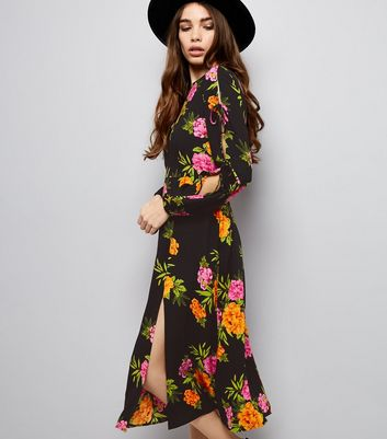 Black Floral Print Tie Sleeve Midi Dress New Look