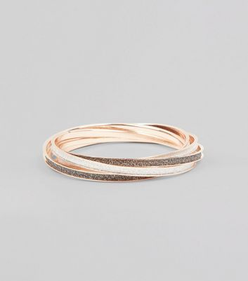 4 Pack Silver Glitter Bangles New Look