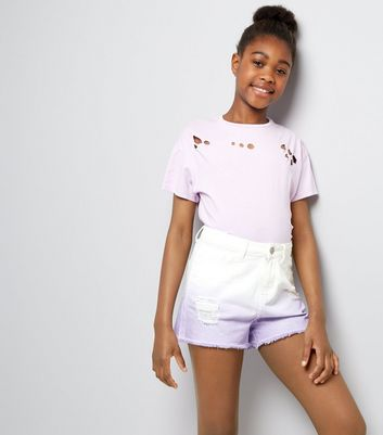 Teens Lilac Dip Dye Denim Shorts New Look
