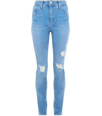 Teens Pale Blue Ripped Skinny Jeans New Look
