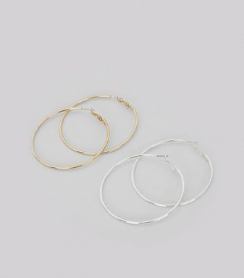 2 Pack Silver and Gold Hoop Earrings New Look