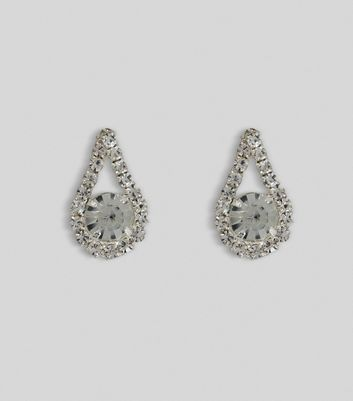 Silver Diamanté Teardrop Stud Earrings