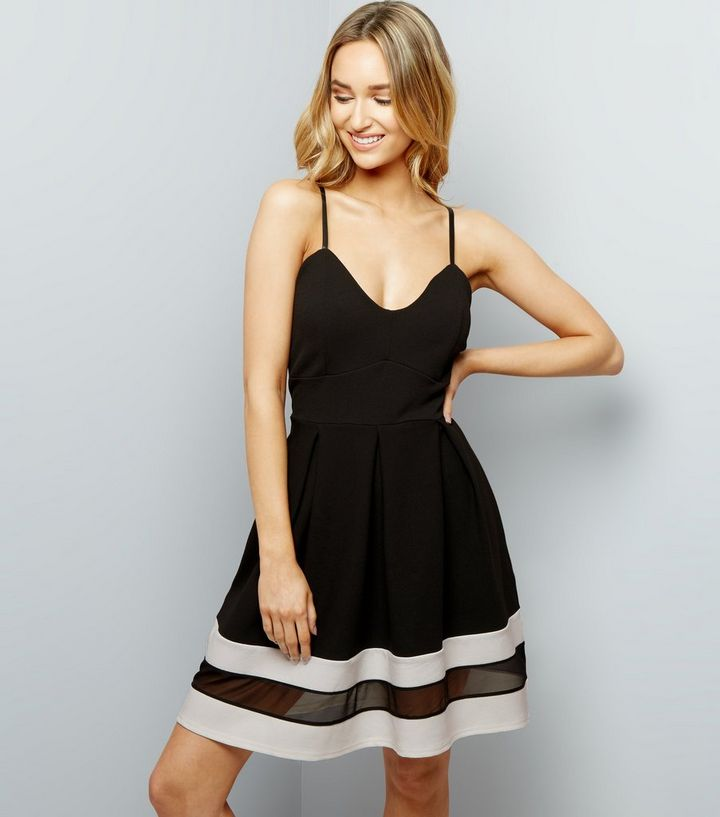 Cameo Rose Black Strappy Mesh Panel Skater Dress New Look