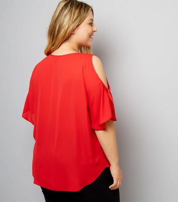 Curves Red Cold Shoulder Top New Look