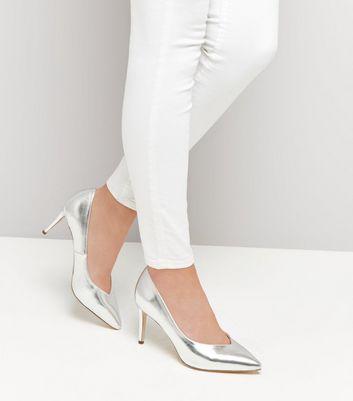 Wide Fit Silver Metallic Pointed Heels