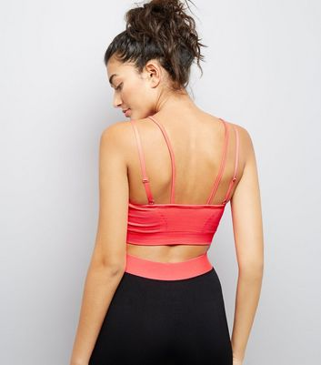 Coral Strappy Sports Crop Top New Look