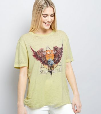Yellow Nevada Print Ripped Back T-Shirt New Look
