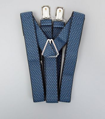 Blue Woven Diamond Pattern Braces New Look