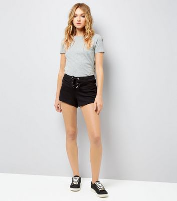 Black Lace Up Front Shorts New Look