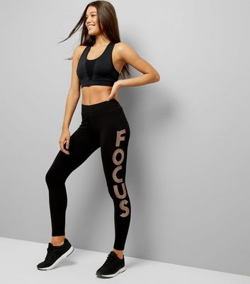 Black Focus Slogan Print Sports Leggings New Look