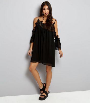 Tall Black Lace Trim Cold Shoulder Dress New Look