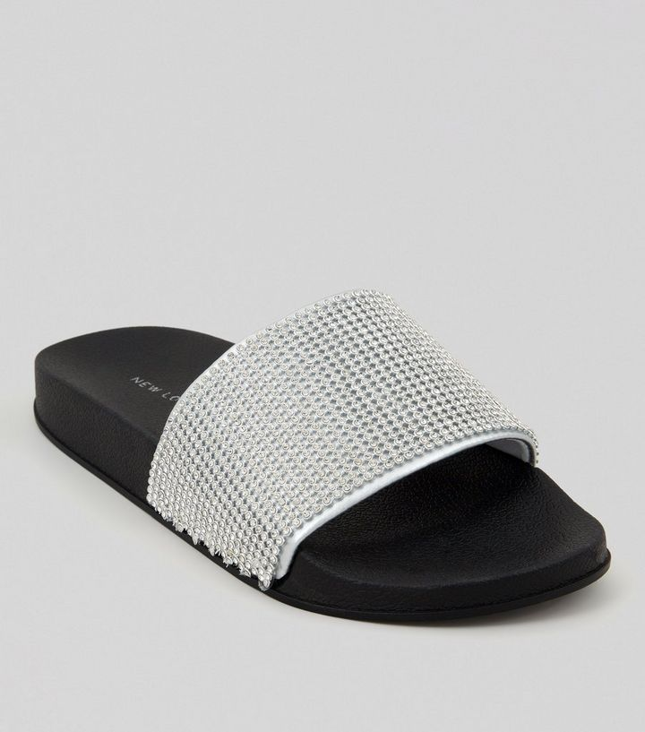 a00aabd9e Silver Diamante Pool Sliders | New Look