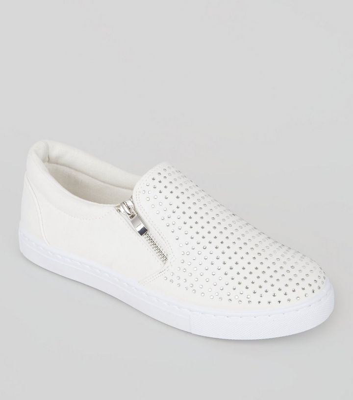 hot sale online 6c973 a837b Weiße Sneaker mit Reißverschluss und Ziernieten Für später speichern Von  gespeicherten Artikeln entfernen