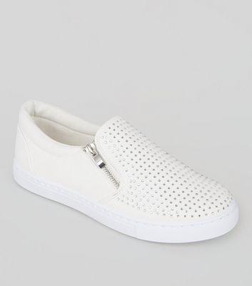 White Diamante Embellished Zip
