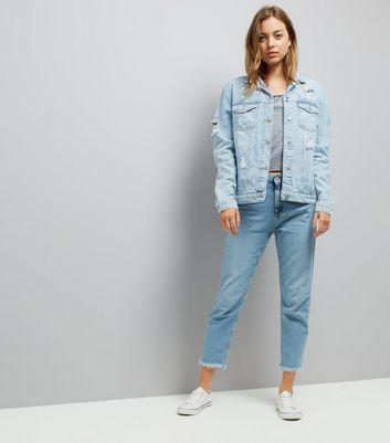 Tall Blue Ripped Denim Jacket New Look