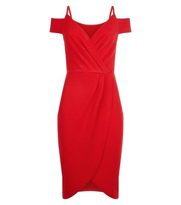 AX Paris Red Cold Shoulder Midi Dress New Look