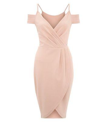 AX Paris Pink V Neck Wrap Front Midi Dress New Look