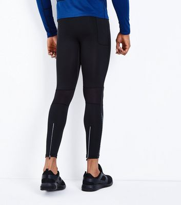 Black Contrast Stripe Running Tights New Look