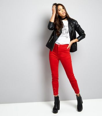 Red High Waisted Ripped Skinny Hallie Jeans New Look