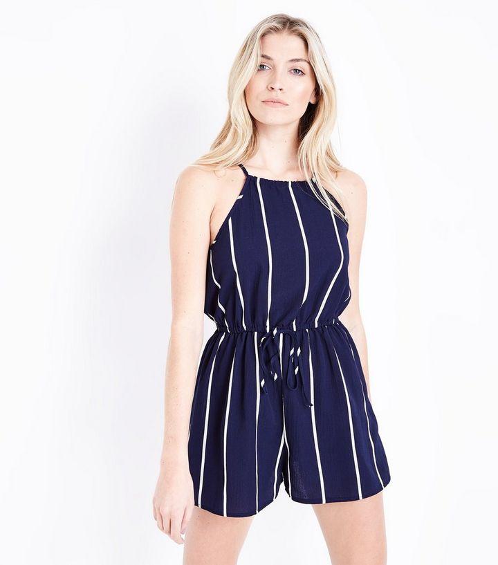 d21f211d8f41 AX Paris Blue Stripe Tie Waist Playsuit