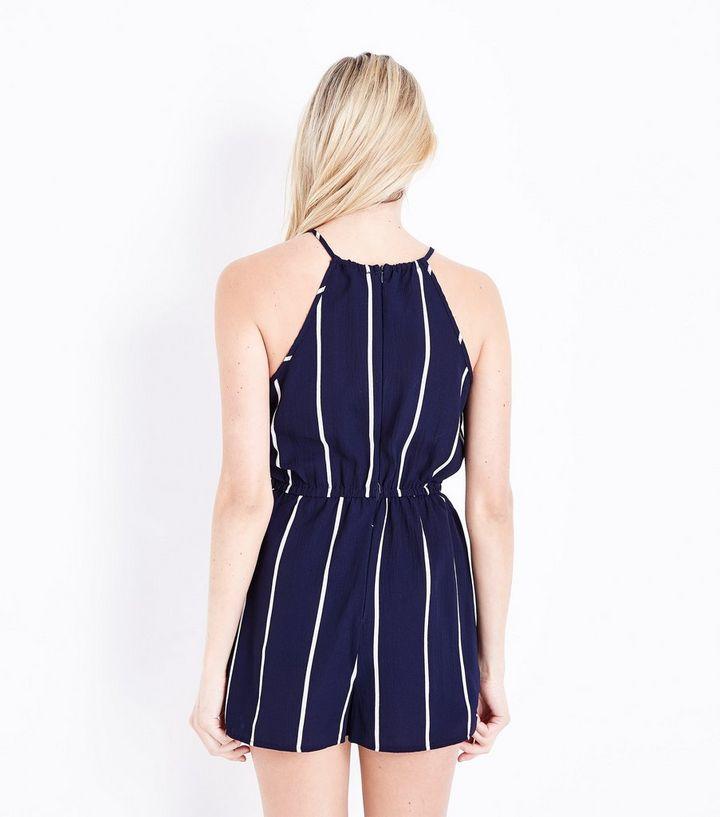 d4357e95a7b AX Paris Blue Stripe Tie Waist Playsuit